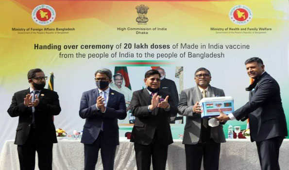 India officially handed over 20 lakh corona vaccine to Bangladesh as a gift